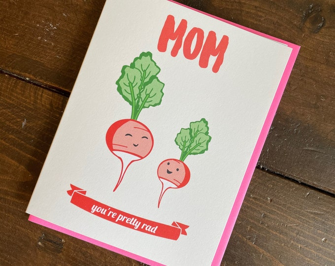 Featured listing image: Radish Mom Card - Mothers Day Card, Mom birthday card, gift for mom, punny mother card
