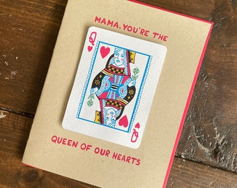 Queen of Hearts Mom Card - Mothers Day Card, Mom birthday card, gift for mom, punny mother card
