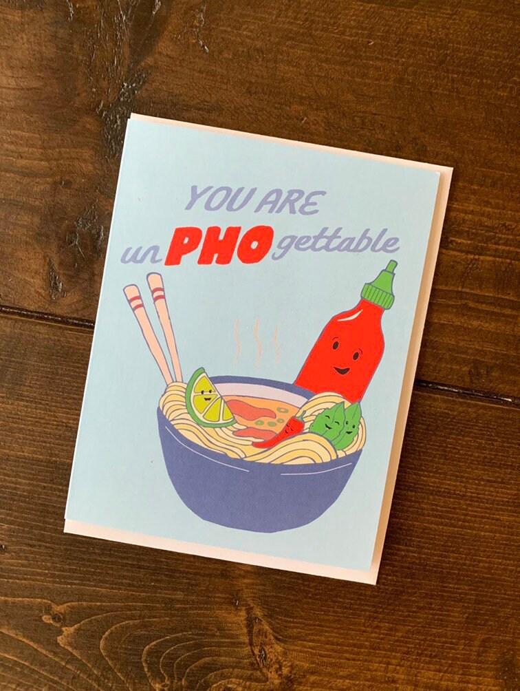 Pho Noodle Card - Pho Art, Vietnamese Pho Card, Noodle Bowl