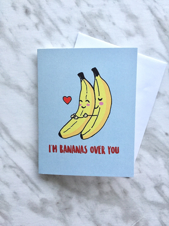 banana anniversary valentines card  bananas valentine