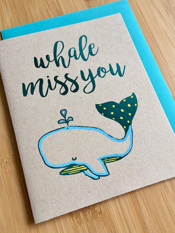 whale miss you goodbye card  handmade farewell miss you