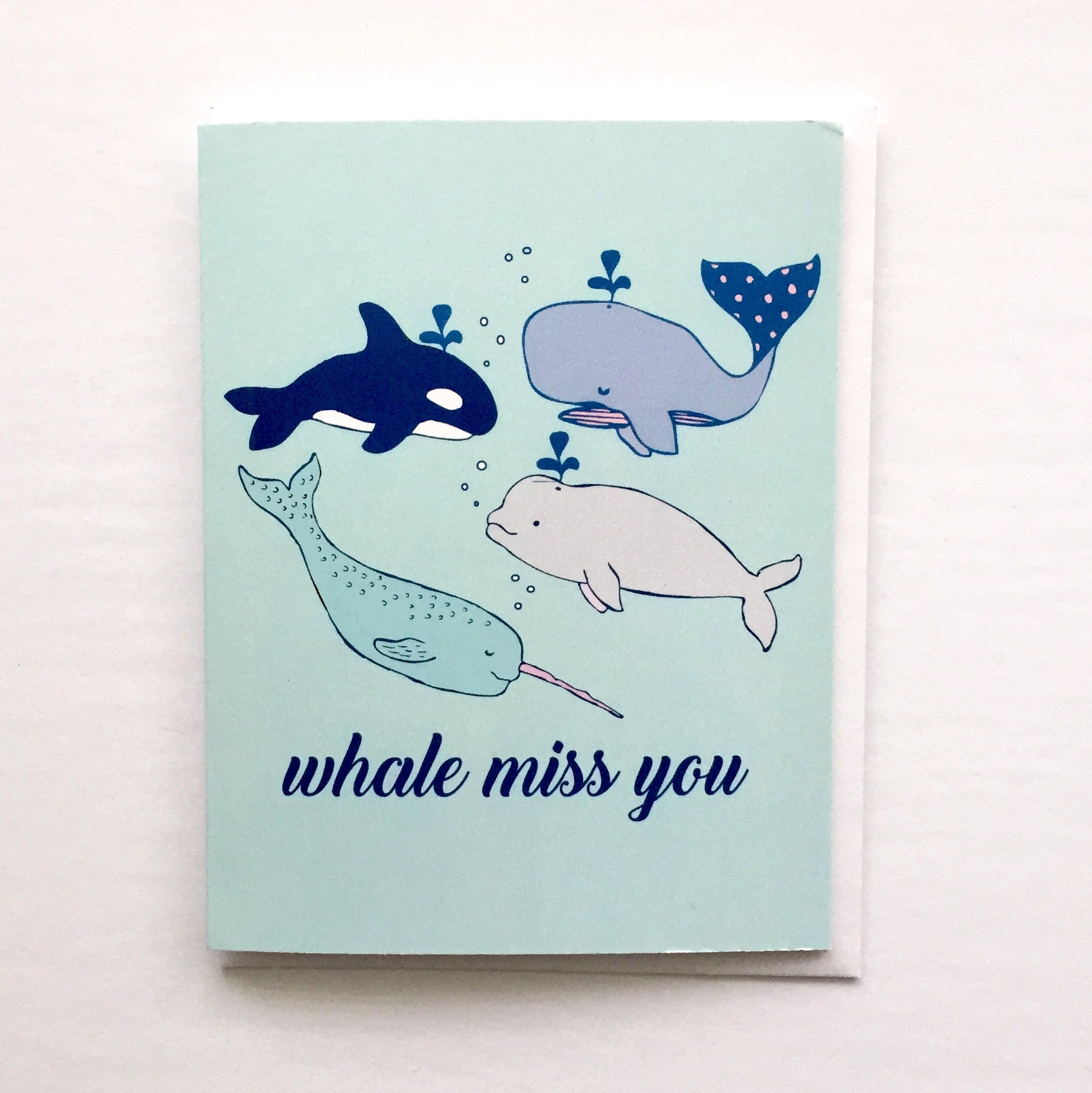 Whale Miss You Card Punny Whale Card Whales Print