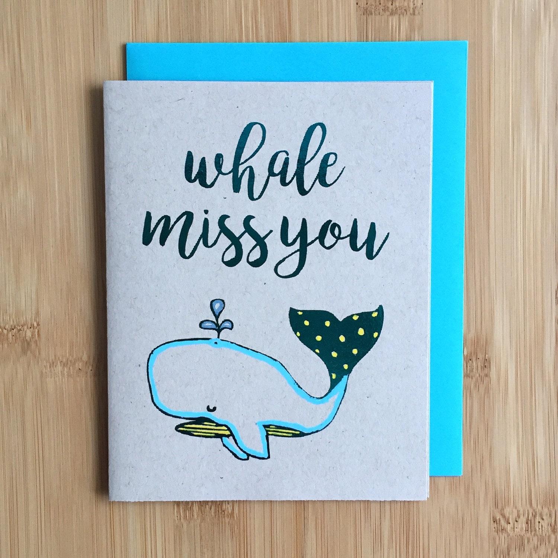 whale miss you goodbye card handmade farewell miss you card so