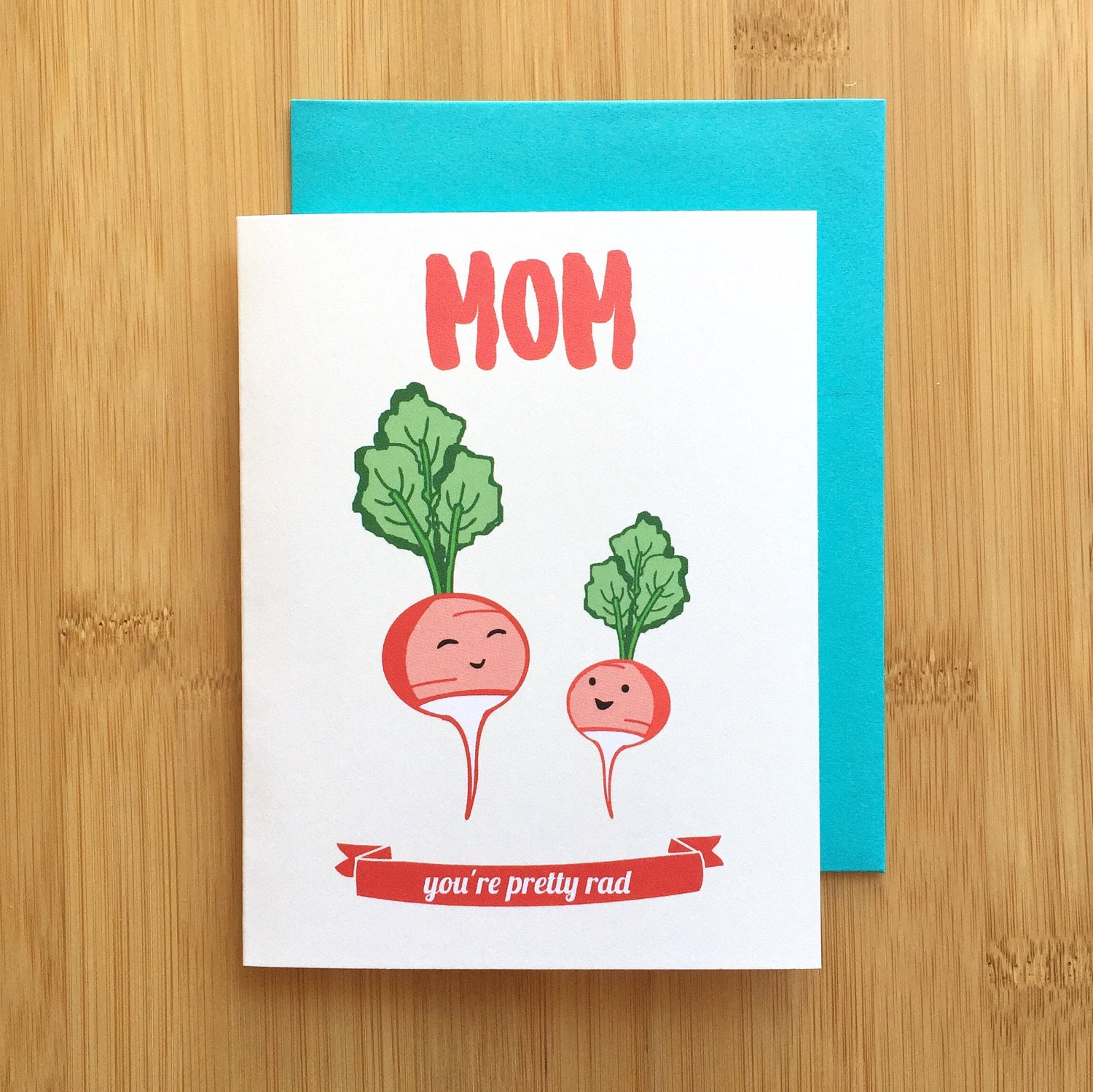 Radish Mom Card Mothers Day Card Mom Birthday Card Gift For Mom