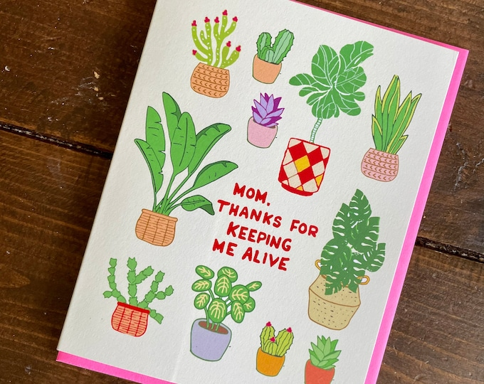 Featured listing image: Plant Lovers Mom Card - Mothers Day Card, Mom birthday card, gift for mom, punny mother card