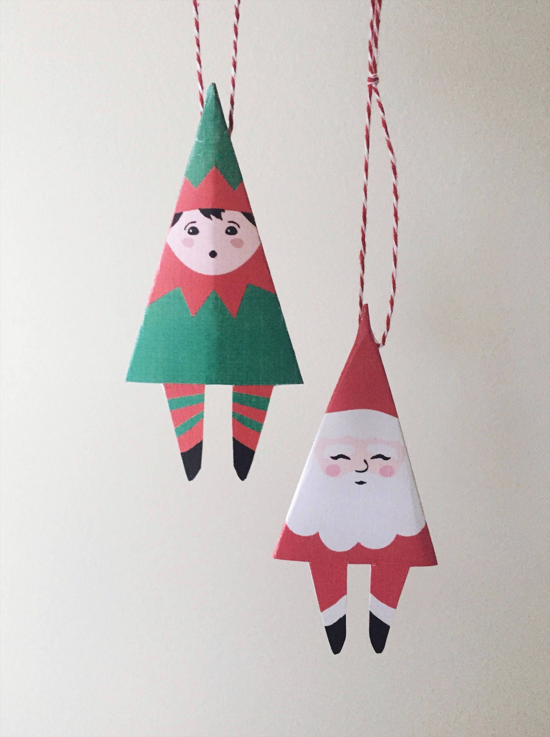 Printable Christmas Ornaments Decor, Santa Claus Elf Ornament