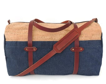 Cork and Denim Sturdy Weekender Bag with Leather Straps and Exterior Pockets