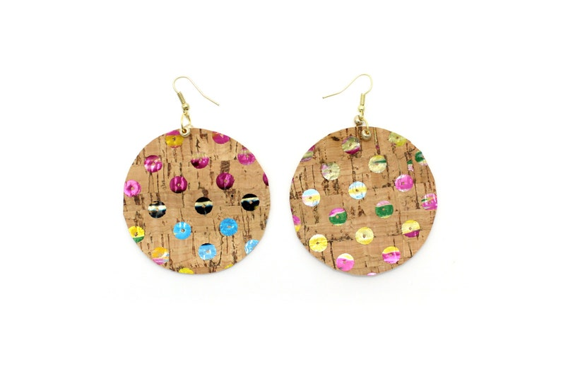 Cork Earrings Kroutons Accessories Large Cork Dot Earring in Sequin Cork Sequin Cork Party Earrings Sparkly