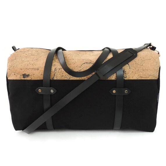 89d128503f7c Black Duffle Bag Cork Weekender Canvas Travel Bag Leather