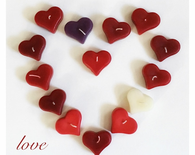 Valentine Candles, Heart Shaped Candle, Beeswax Heart Candle, Floating Candle,  Party Favors, Valentine's Day Candle, Red Heart Candle