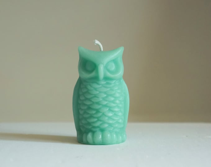 "Beeswax Owl Candle, Turquoise Blue, Animal Candle, Bird Candle, Customized, Handmade in USA, Custom Color Candle, Size 3 1/4"" x 2"""