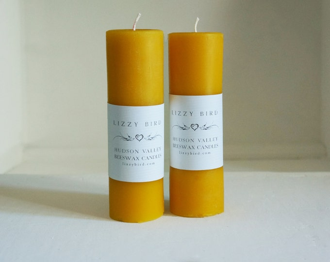 Two Pillars, Long Candles, Beeswax Pillar Candles, Beeswax Candles, Standard Pillar Candles, 6 Inch Pillars, Custom Color Candles