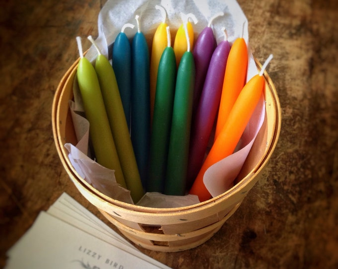 Small Beeswax Tapers, Small Tapered Candles, Beeswax Candles, Six Inch Tapers, Custom Colors, Small Candles, Candelabra Candles
