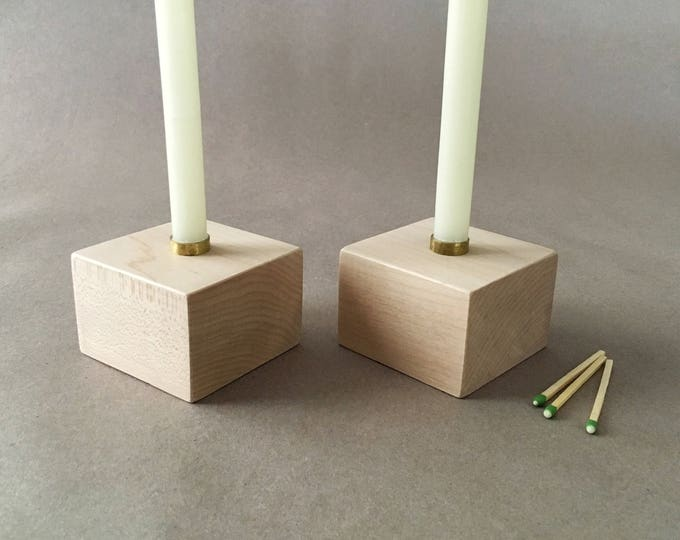 """Two Solid Maple Candle Holders, Pair of Wood Candlesticks, 1/2"""" Diameter Candle Holder, Hardwood Candle Holders"""