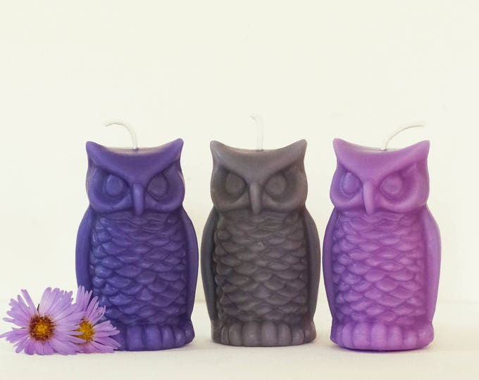 "Owl Candle, Beeswax Candle, One Bird Candle, Aster Blue, Light Grey, Pink Candle, Size 3 1/4"" x 2"""
