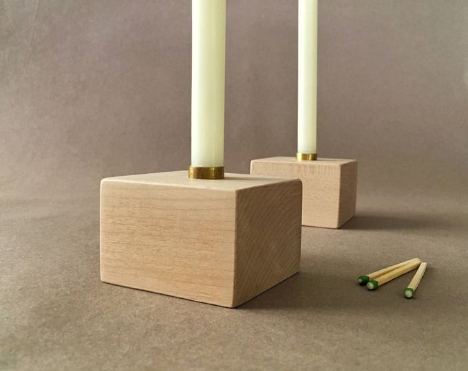 "Two Solid Maple Candle Holders, Pair of Wood Candlesticks, 1/2"" Diameter Candle Holder, Hardwood Candle Holders"