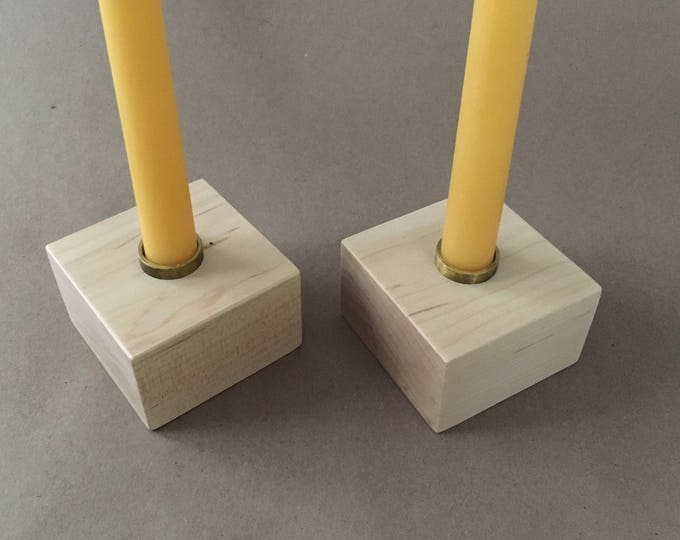 "Pair of Wood Candlesticks, Standard Diameter Candle Holder, Hardwood Candle Holders, 7/8"" Candles, Standard Size Candle Holders, Solid Maple"