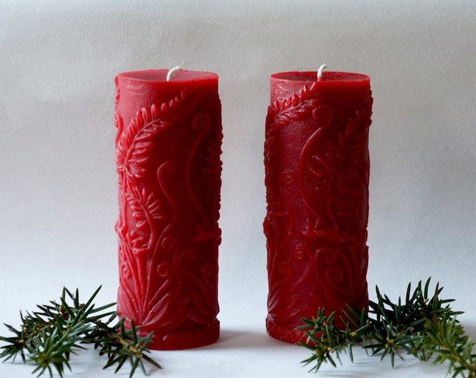 Two Pillars, Large Candles, Red Candles, Large Pillars, Beeswax Candles, Tall Candles, Love Candles, Dark Red Candles