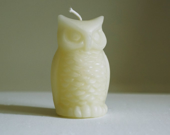 "Owl Candle, Beeswax Candle, Bird Candle, Ivory Candle, White Candle, Mother's Day, Size 3 1/4"" x 2"""