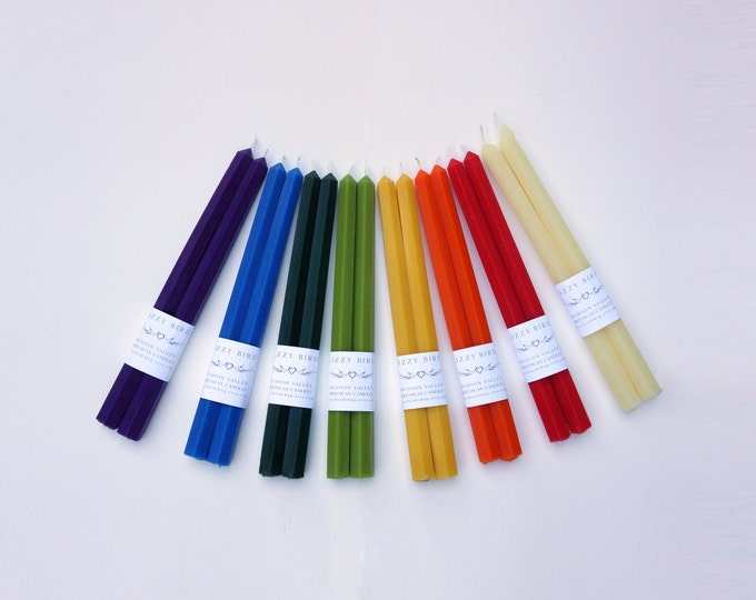 "12"" Hexagonal Candles, Beeswax Candles, Hex Candles, Hexagonal Tapers, Taper Candles, Custom Colors, Customized Candles"