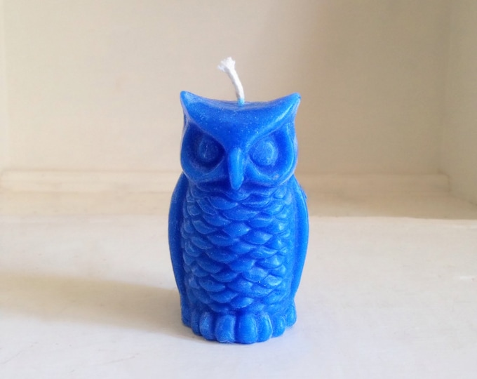 "Gift for Dad, Owl Candle, Beeswax Candle, Dripless Candle, Blue Candle, Custom Colored Candles, Size 3 1/4"" x 2"""
