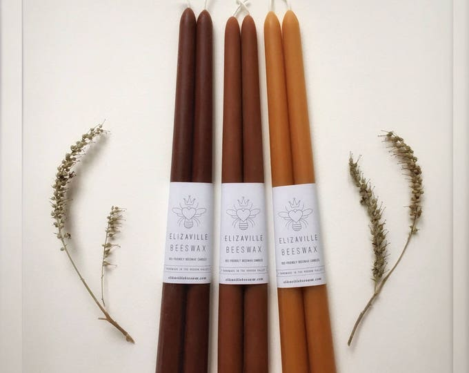 "Tall Brown Candles, Beeswax Tapers, One Pair Candles, 12"" Tapered Candles, Beeswax Candles, Custom Colors, Many Colors, Brown Candles"