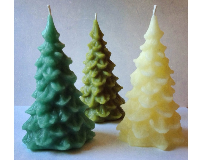 Three Christmas Tree Candles, Beeswax Candle, Christmas Ornaments, Pine Tree Candle, Holiday Decor, Christmas Candle, Red and Green Trees
