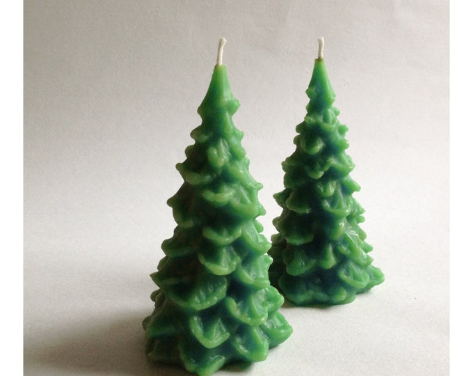 Christmas Tree Candles, Two Trees, Beeswax Candle, Holiday Decor, Pine Trees, Green Trees, Custom Colors, Set of Two, Large Christmas Candle
