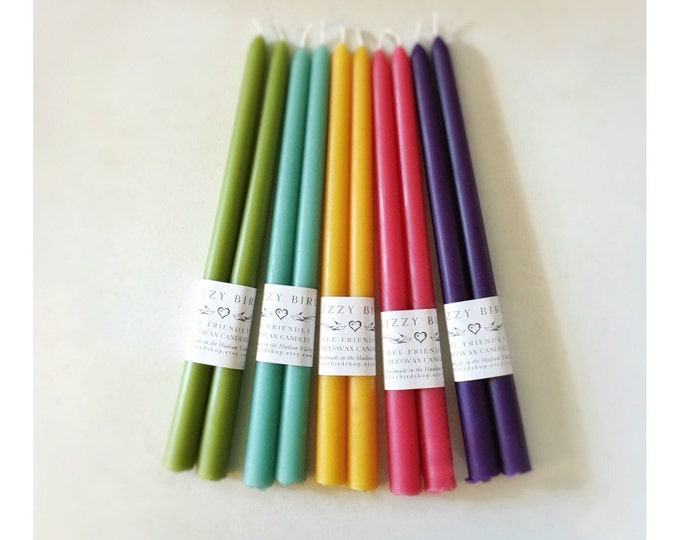 "Spring Candles, 12"" Easter Candles, Beeswax Candles, Pastel Colors, Long Tapers, 12 Inch Beeswax Tapers, Custom Color, ONE PAIR of TAPERS"