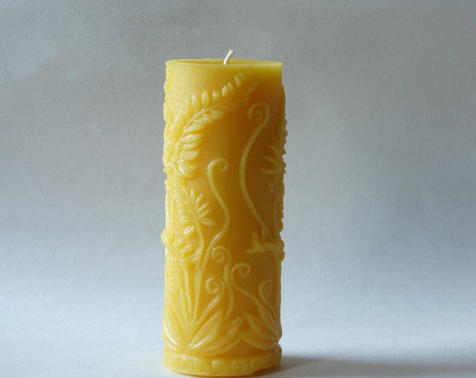 Large Beeswax Candles, Tall Candle, Beeswax Pillar, Flower Candle, Fern Candle, Spring Candles, Yellow Beeswax Pillar, Custom Colors