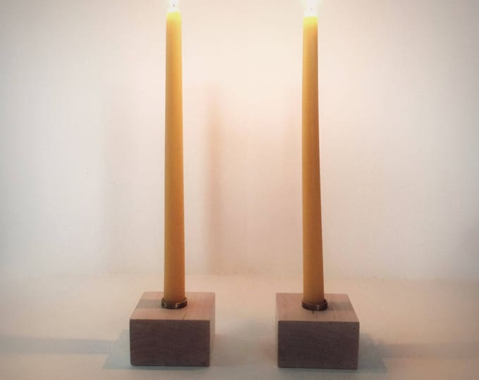 """Pair of Wood Candlesticks, Standard Diameter Candle Holder, Hardwood Candle Holders, 7/8"""" Candles, Standard Size Candle Holders, Solid Maple"""