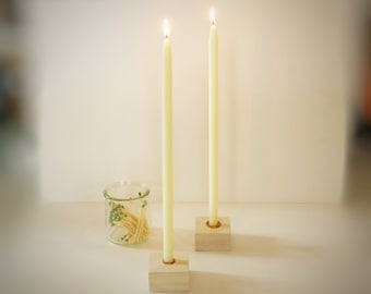 """12"""" Tall Skinny Tapers, One Pair, Half Inch Diameter Tapers, Beeswax Candles, 1/2 inch Candles, Slim Tapers, White Beeswax Tapers"""