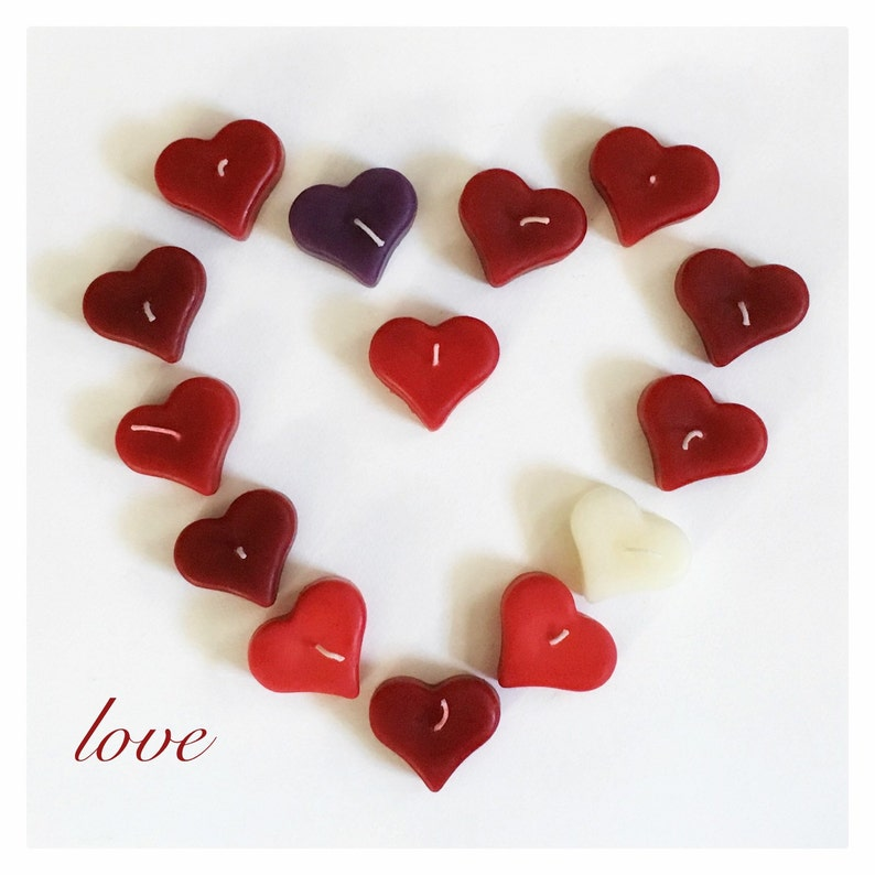 Valentine Candles Heart Shaped Candle Beeswax Heart Candle image 0