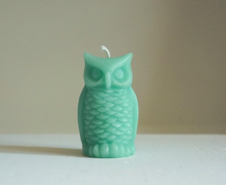 Beeswax Owl Candle Turquoise Blue Animal Candle Bird image 0