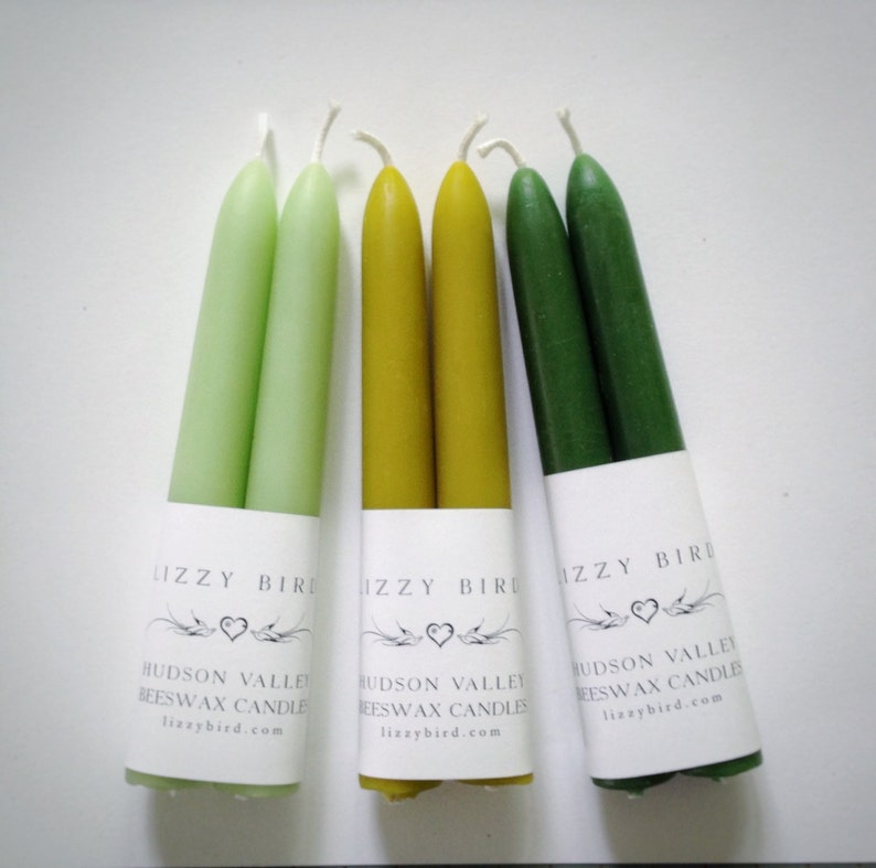 Spring Candles Small Taper Candles Beeswax Candles Lime image 0