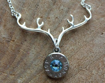 Silver Antler Necklace with 357/ 38/40 ammo pendant with Swarovski crystal, Bullet Jewelry, Hunting Ammunition Jewelry, Personalized Ammo