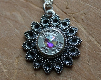 40 S&W Filigree Necklace with Aurora Borealis crystal, Spikes , Upcycled Ammo, Elegant Classy Ammunition Jewelry, Ammo Jewelry, Personalized