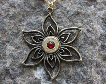 40 S&W Filigree Gold Flower Necklace with Personalized Birthstone Swarovski, Upcycled Ammo, Elegant Classy Ammunition Jewelry, Ammo Jewelry,