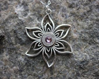 40 S&W Filigree Silver Flower Necklace with Personalized Birthstone Swarovski, Upcycled Ammo,Elegant Classy Ammunition Jewelry, Ammo Jewelry