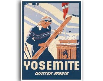 Yosemite Ski Poster Travel Art Vintage Print (H405)