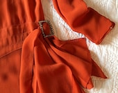 1920s Deco tangerine orange silk handerchief hem flapper dress