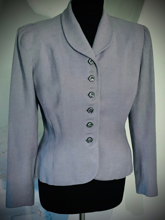 1940s light blue wool jacket - image 6