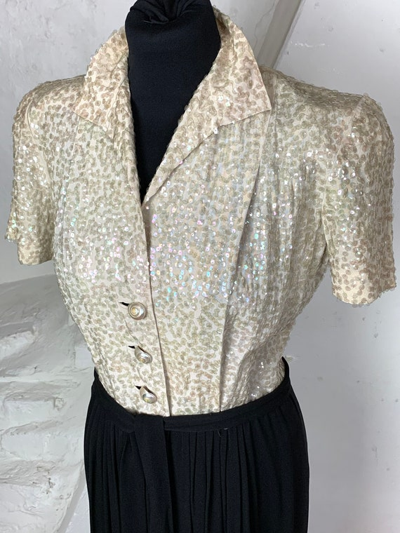 Stunning late 30s sequin and crepe evening gown