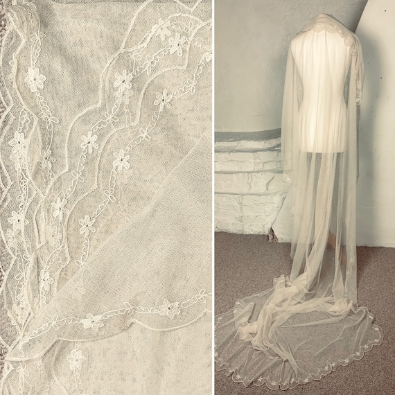 1920s cotton voile embroidered wedding veil/train
