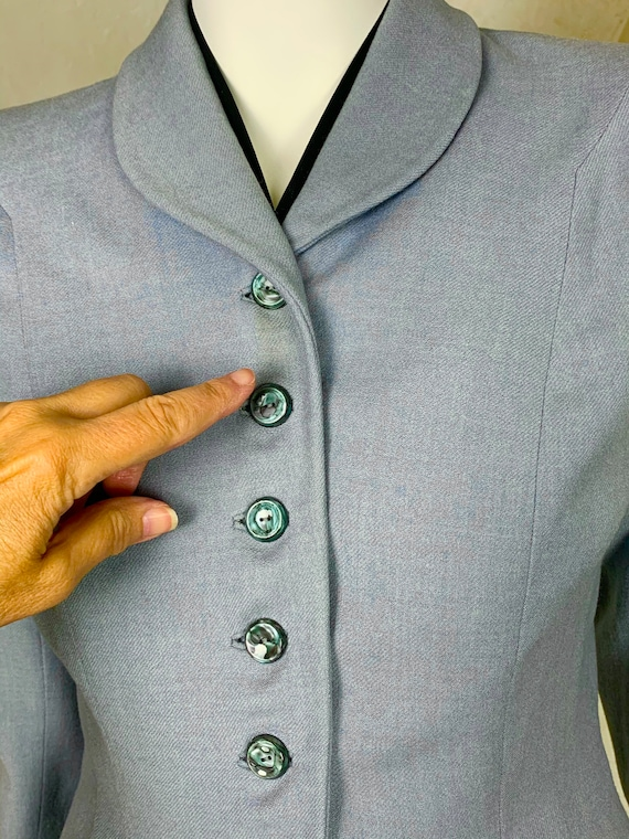 1940s light blue wool jacket - image 9