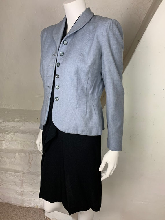 1940s light blue wool jacket - image 5