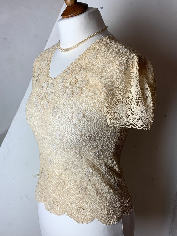 Original 1930s handmade Irish crochet top - image 4