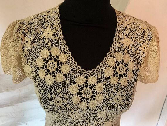 Original 1930s handmade Irish crochet top