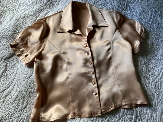 1970s does 1930s  peach satin rayon blouse