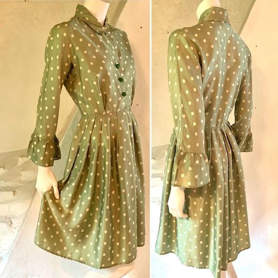 1950s green polka dot dress